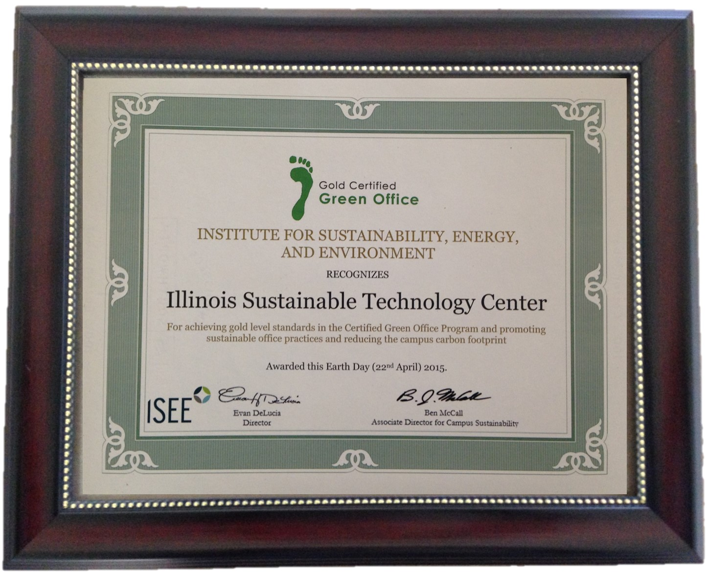close up of ISTC's Certified Green Office Program Gold Certification certificate