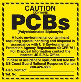 Caution sign: PCBs - a toxic environmental contaminant requireing special handeling and disposal in accordance with the USEPA