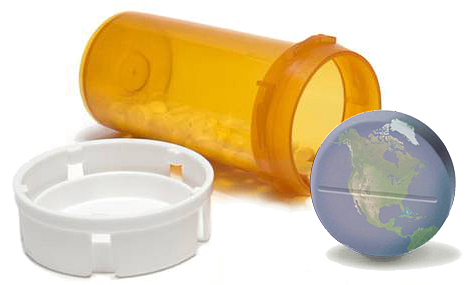 pill bottle spilling out pills with one big pill colored with the pattern of earth's suface specifically north america