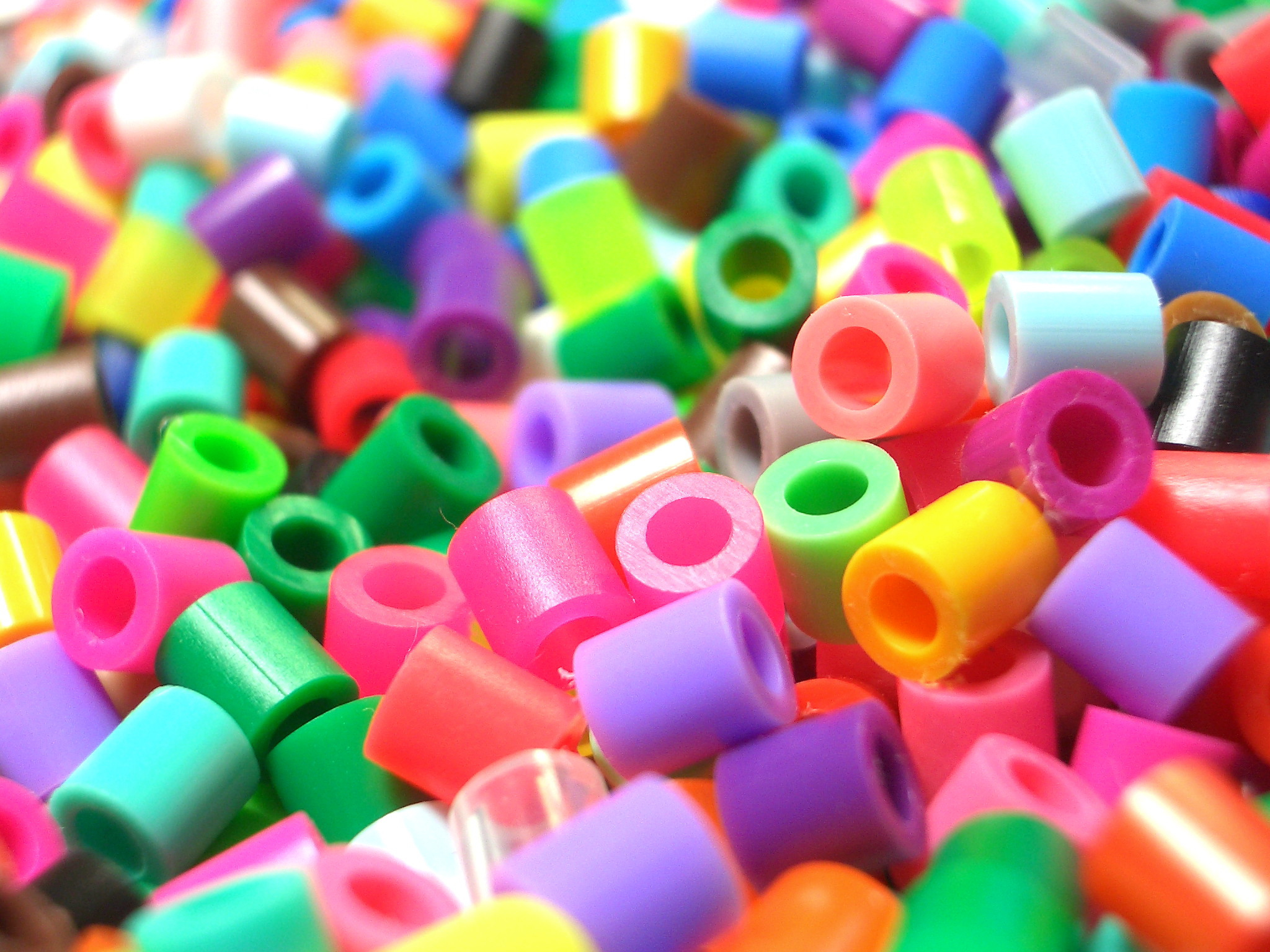 multi colored plastic beads