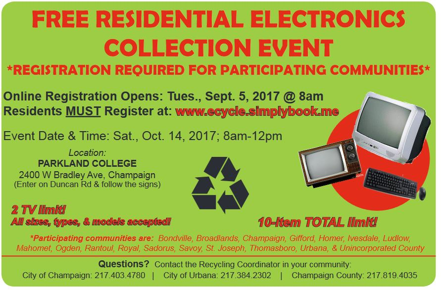 postcard announcing the October 14, 2017 electronics collection for Champaign County, IL