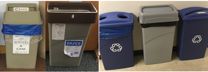 Examples of the variety in size, color and signage of older collection bins on campus.