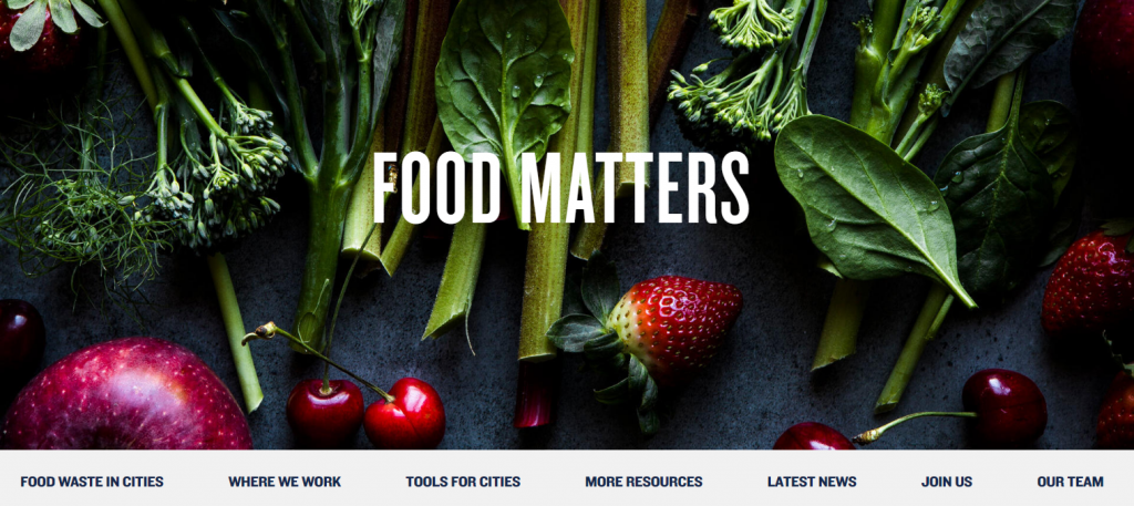 """The words """"food matters"""" over a background image of various fruits and vegetables. Image from NRDC web site."""