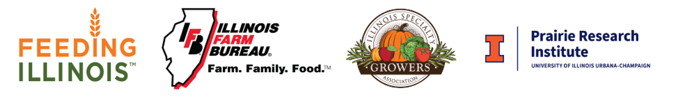 Logos of Feeding Illinois, the IL Farm Bureau, the Specialty Crop Growers Association and the Prairie Research Institute