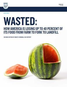 """Image of NRDC """"Wasted"""" report cover with a photo of a watermelon with a wedge removed."""